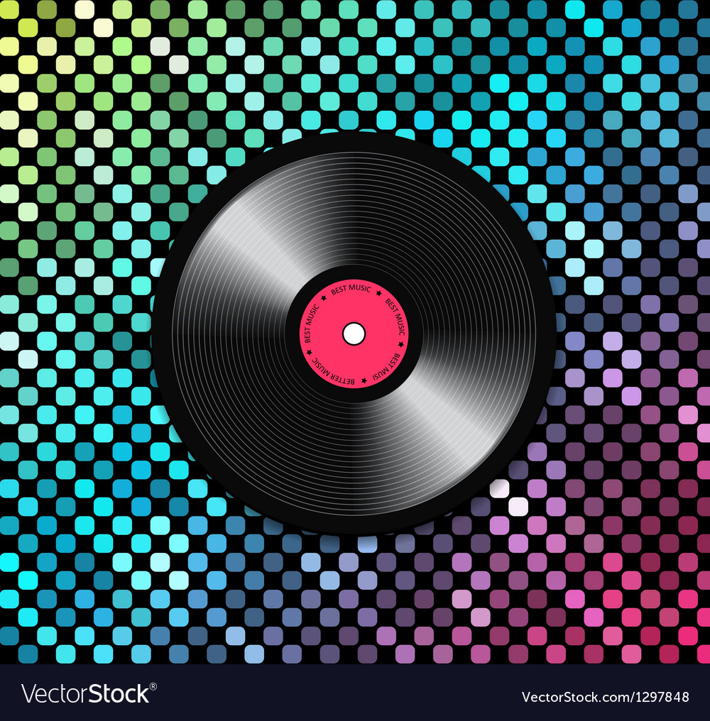 Music background with vinyl record vector | Price: 1 Credit (USD $1)