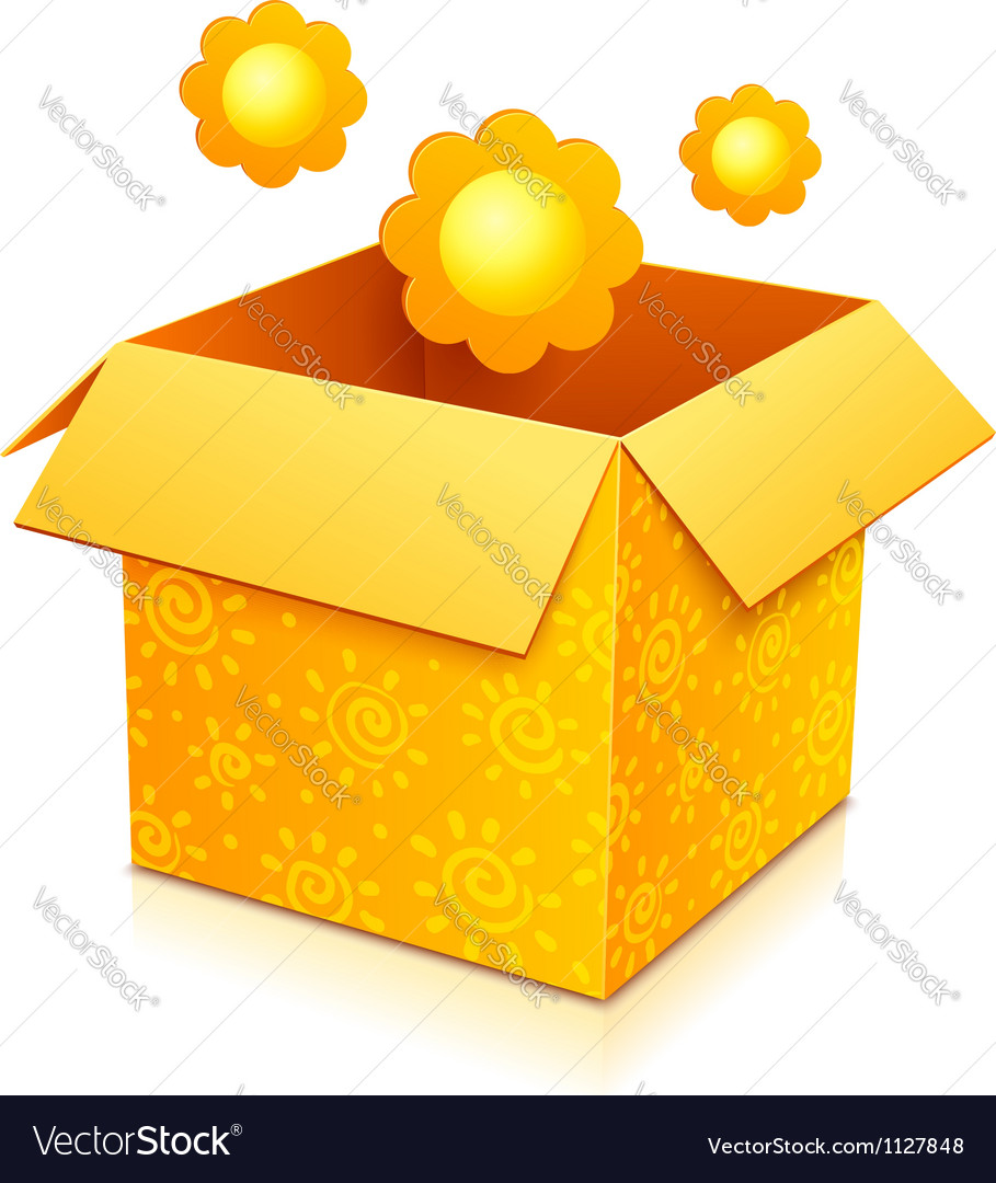 Orange gift box with yellow flowers vector | Price: 1 Credit (USD $1)