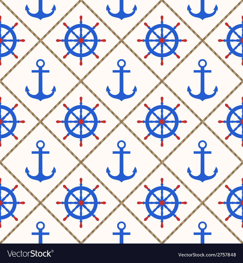Seamless nautical pattern with anchors wheels rope vector | Price: 1 Credit (USD $1)