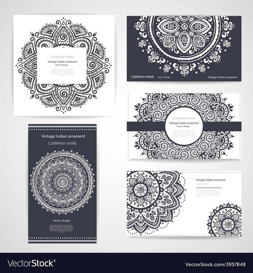 Set of banners with floral indian ornaments can be vector | Price: 1 Credit (USD $1)