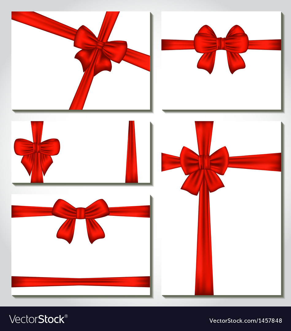 Set of red gift bows for design packing vector   Price: 1 Credit (USD $1)