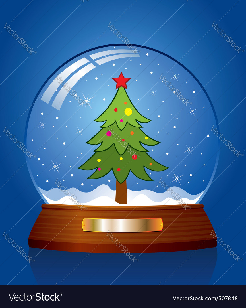 Snow globe with christmas tree vector | Price: 1 Credit (USD $1)