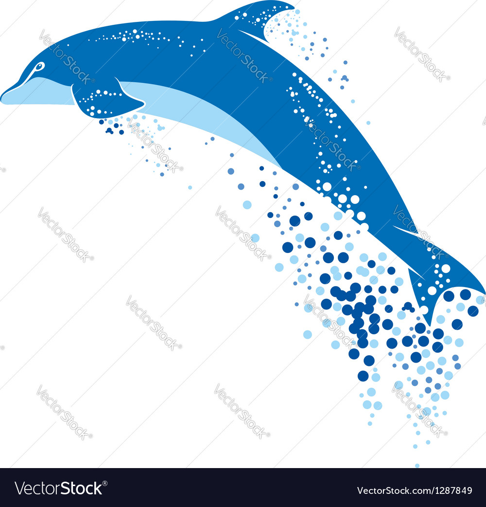 Blue dolphin jumping in water splashes vector | Price: 1 Credit (USD $1)