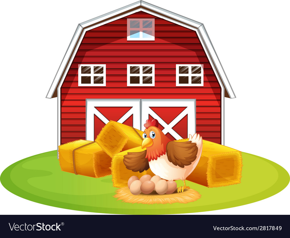 Chicken and barn vector | Price: 1 Credit (USD $1)