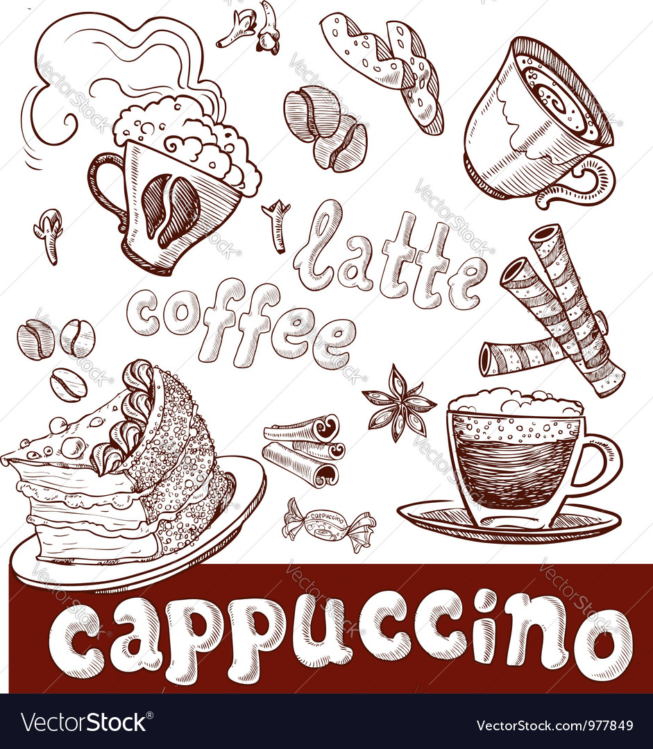 Coffee cappuccino late and sweets vector | Price: 1 Credit (USD $1)