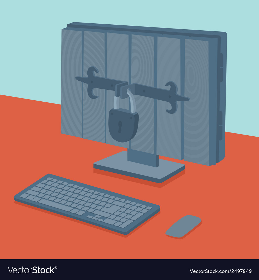 Computer in safe vector | Price: 1 Credit (USD $1)