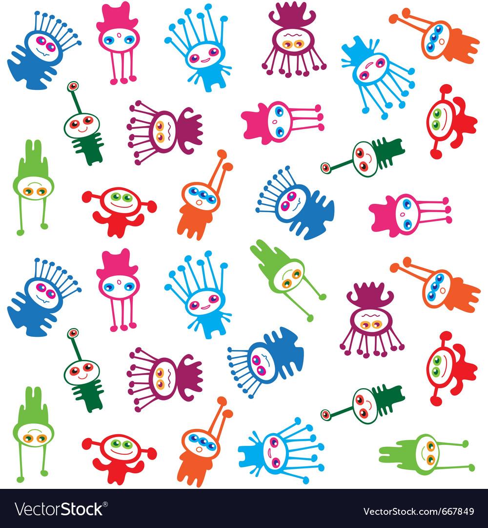 Extraterrestrials - seamless pattern kids design vector | Price: 1 Credit (USD $1)