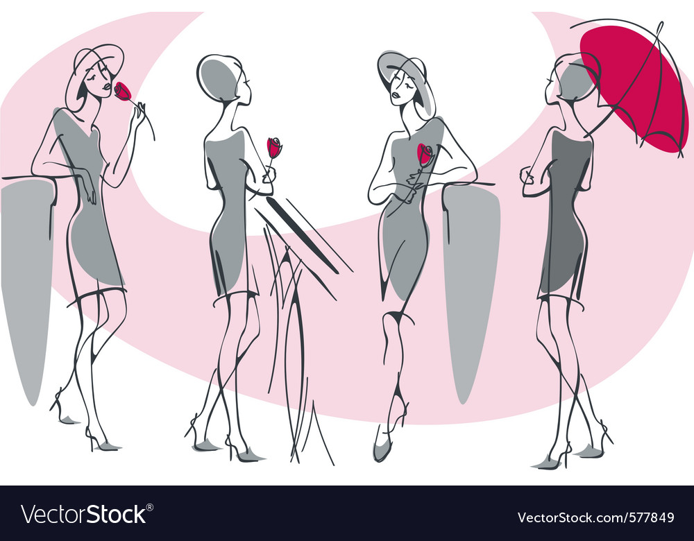 Feminine silhouette collection vector | Price: 1 Credit (USD $1)