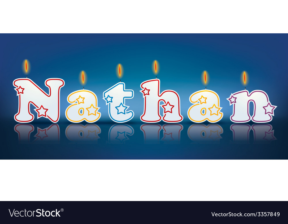 Nathan written with burning candles vector | Price: 1 Credit (USD $1)