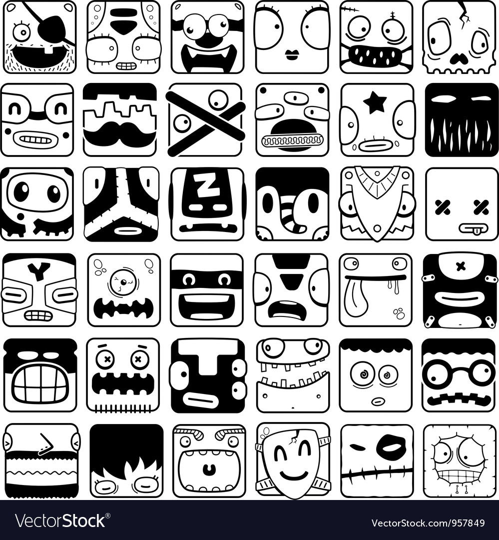 Set of cartoon box face silhouettes vector | Price: 1 Credit (USD $1)