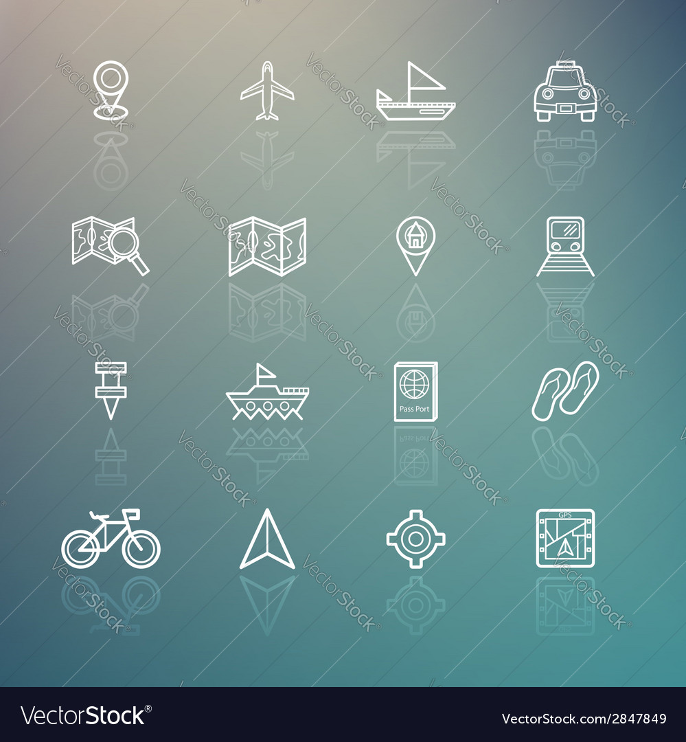 Travel icons on retina background vector   Price: 1 Credit (USD $1)