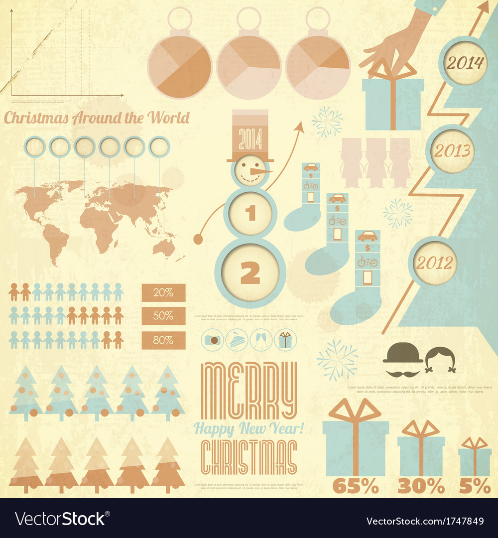Vintage christmas and new year infographic vector | Price: 1 Credit (USD $1)