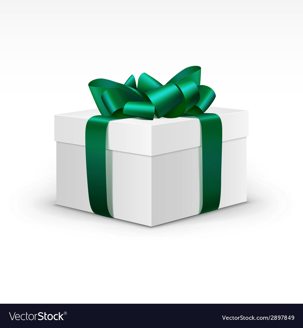 White gift box with green ribbon isolated vector | Price: 1 Credit (USD $1)