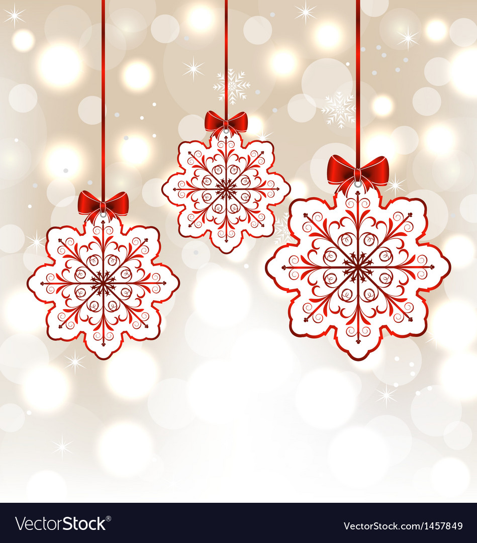 Winter decoration with snowflakes and bows vector | Price: 1 Credit (USD $1)