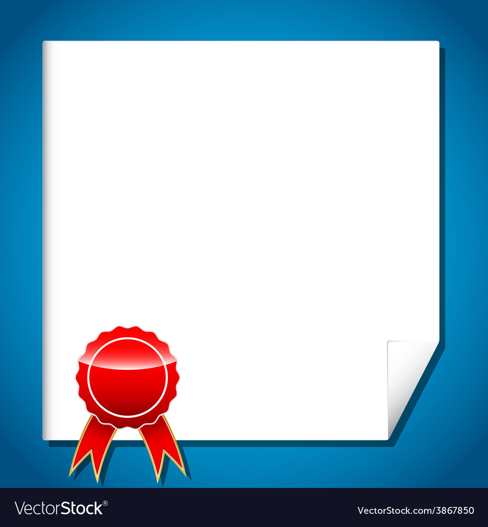 Certificate with red award label with ribbon vector | Price: 1 Credit (USD $1)