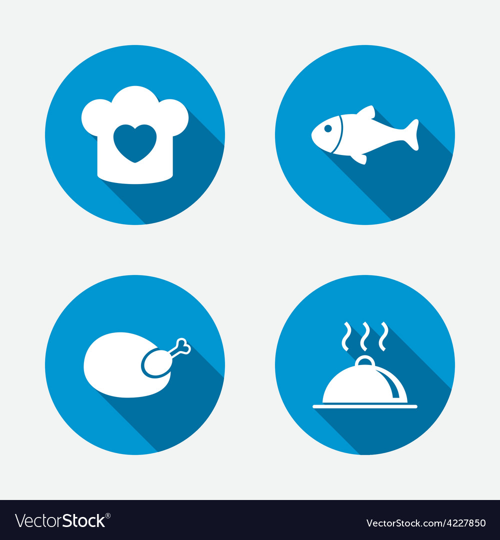 Chief hat cooking pan icons fish and chicken vector | Price: 1 Credit (USD $1)