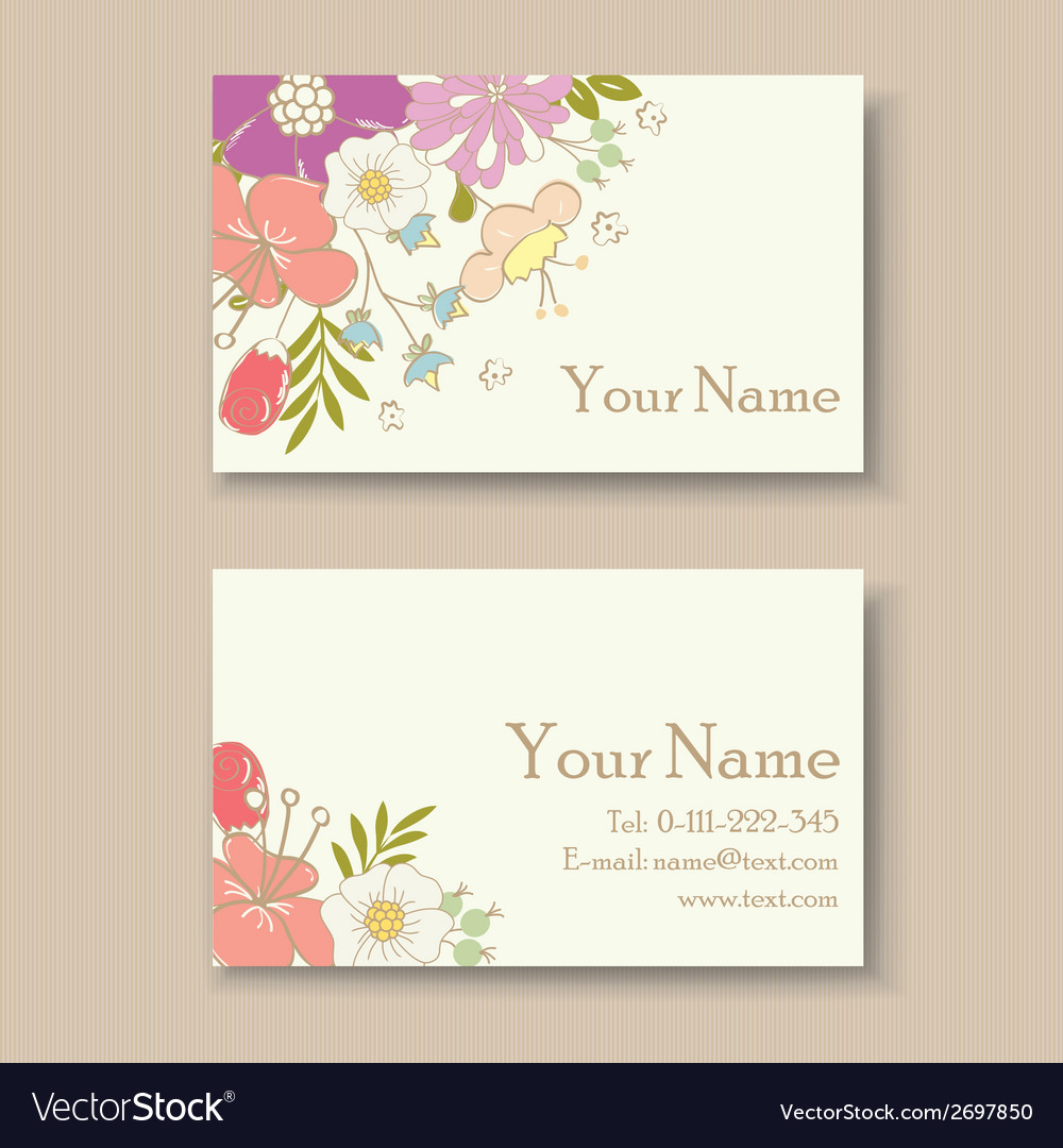 Floral business card vector | Price: 1 Credit (USD $1)