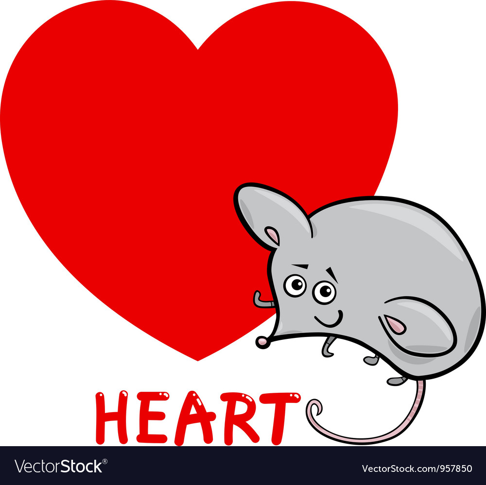 Heart shape with cartoon mouse vector | Price: 1 Credit (USD $1)