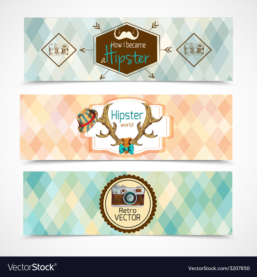 Hipster banners horizontal vector   Price: 1 Credit (USD $1)