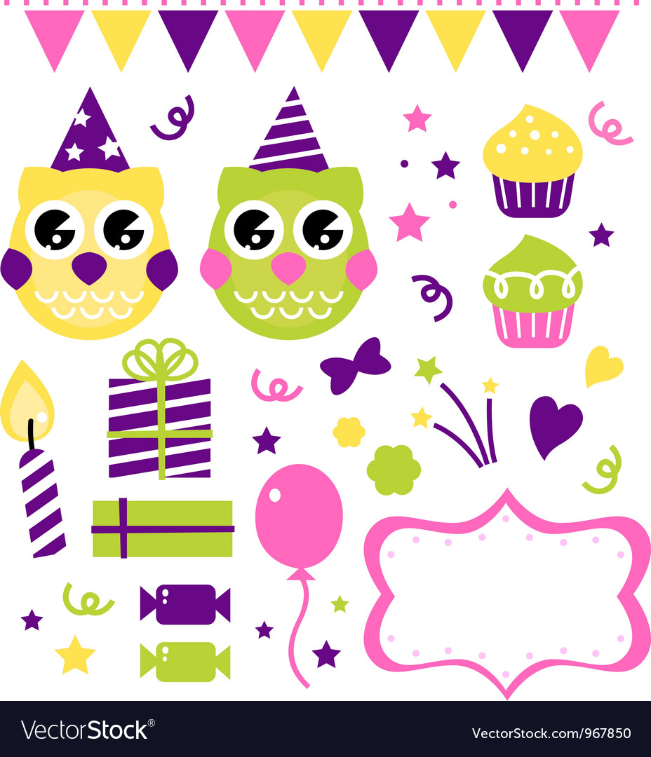 Owl birthday party design elements set vector | Price: 1 Credit (USD $1)