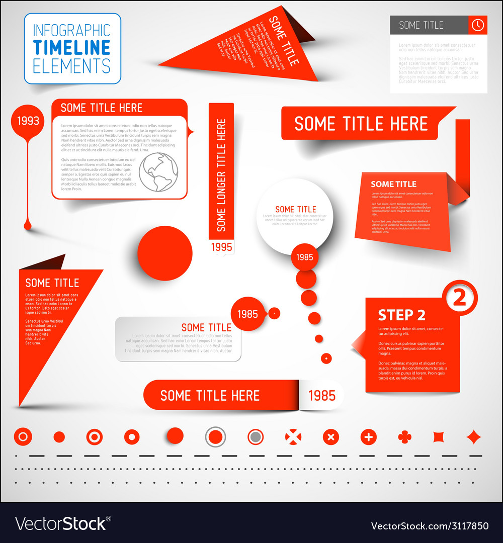 Red infographic timeline elements template vector