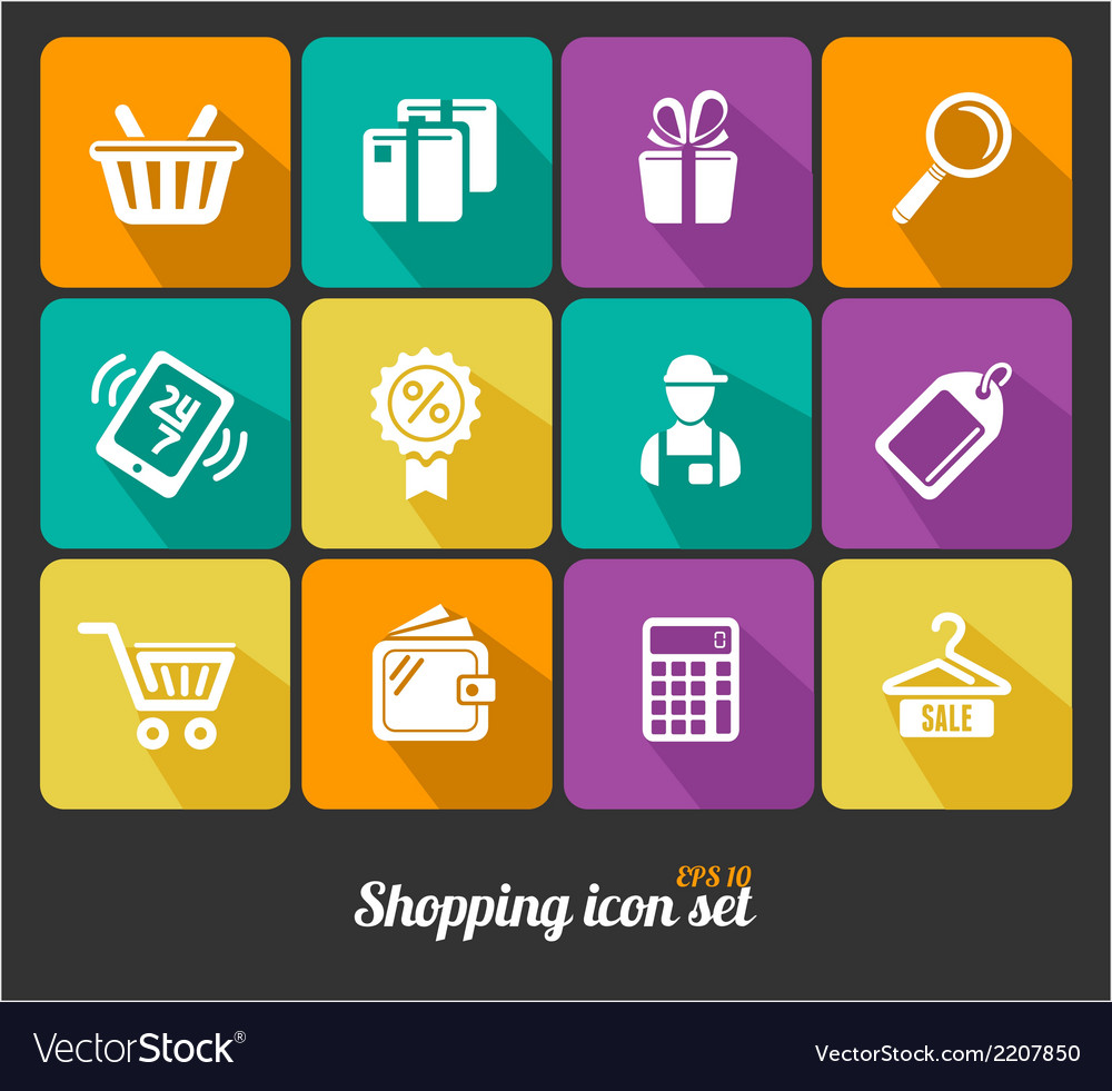 Shopping icons flat vector | Price: 1 Credit (USD $1)