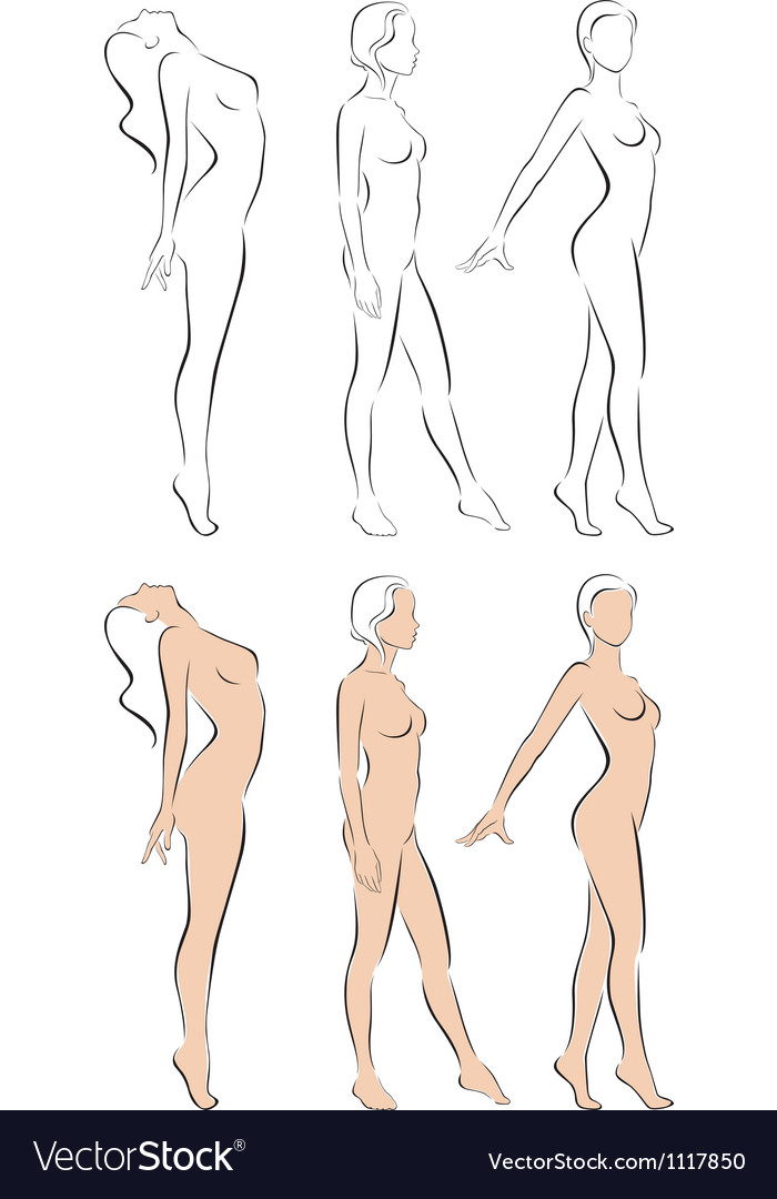 Stylized figures standing naked women vector | Price: 3 Credit (USD $3)