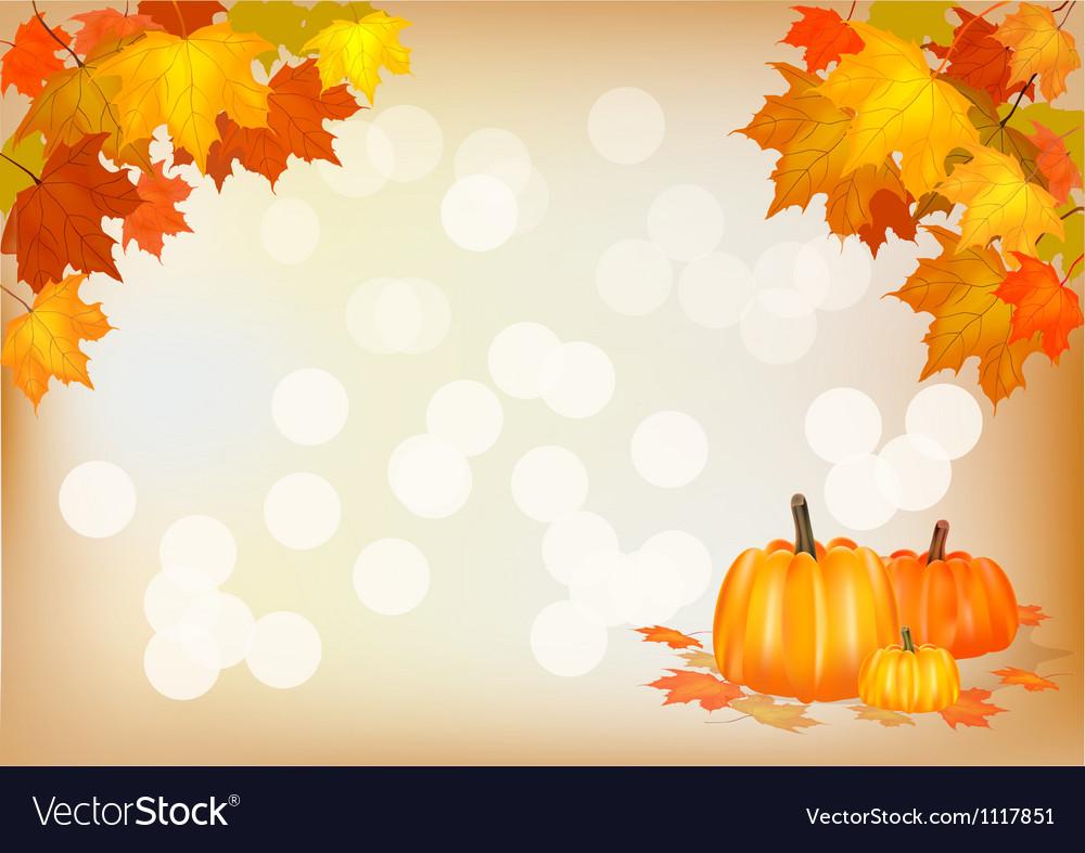 Autumn pumpkin holiday postcard vector | Price: 1 Credit (USD $1)