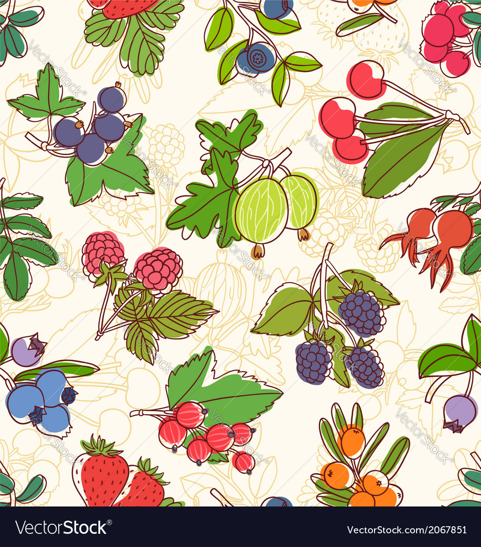 Berries seamless pattern vector | Price: 1 Credit (USD $1)