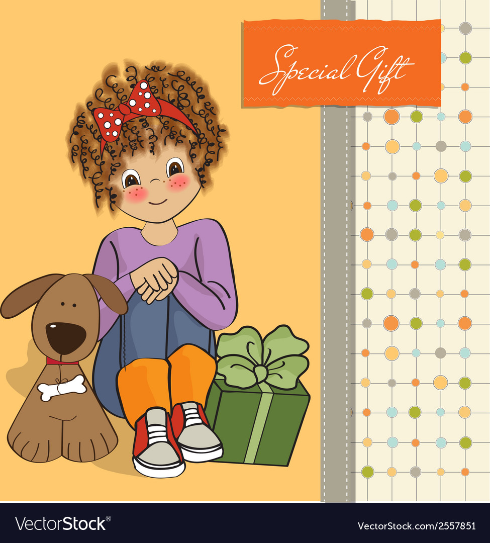 Birthday greeting card with pretty little girl vector | Price: 1 Credit (USD $1)