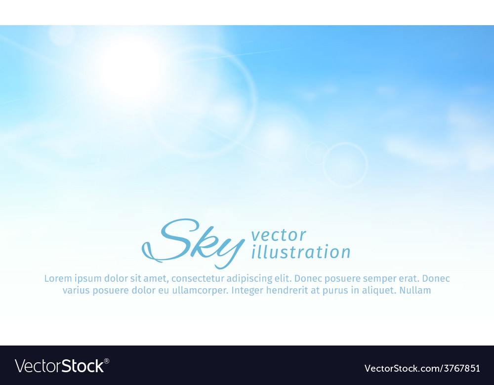 Bright summer sun and clouds horizontal sky vector | Price: 1 Credit (USD $1)