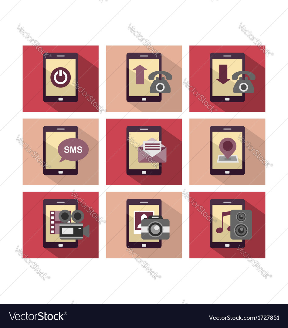 Flat icon design phone vector | Price: 1 Credit (USD $1)