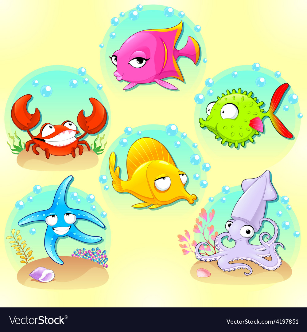 Funny sea animals vector | Price: 1 Credit (USD $1)