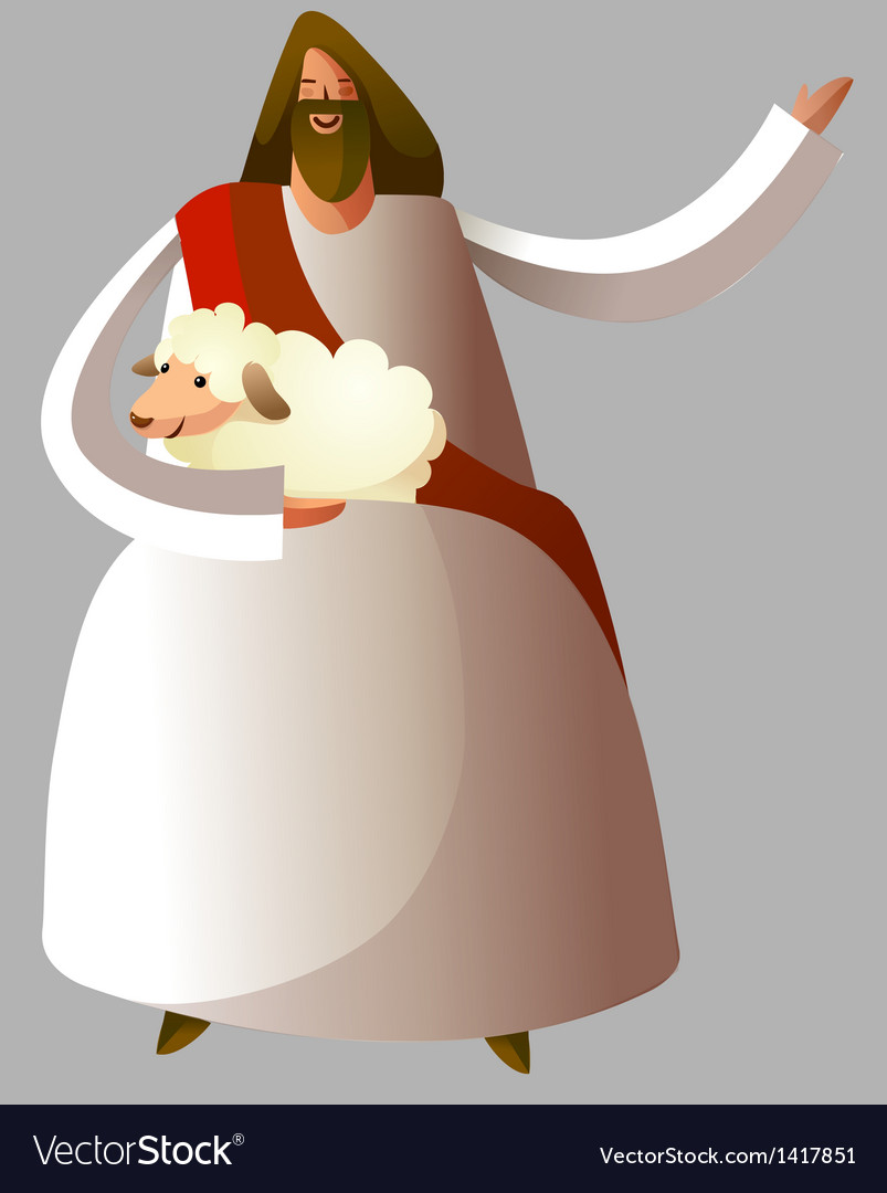 Jesus christ holding sheep vector | Price: 1 Credit (USD $1)