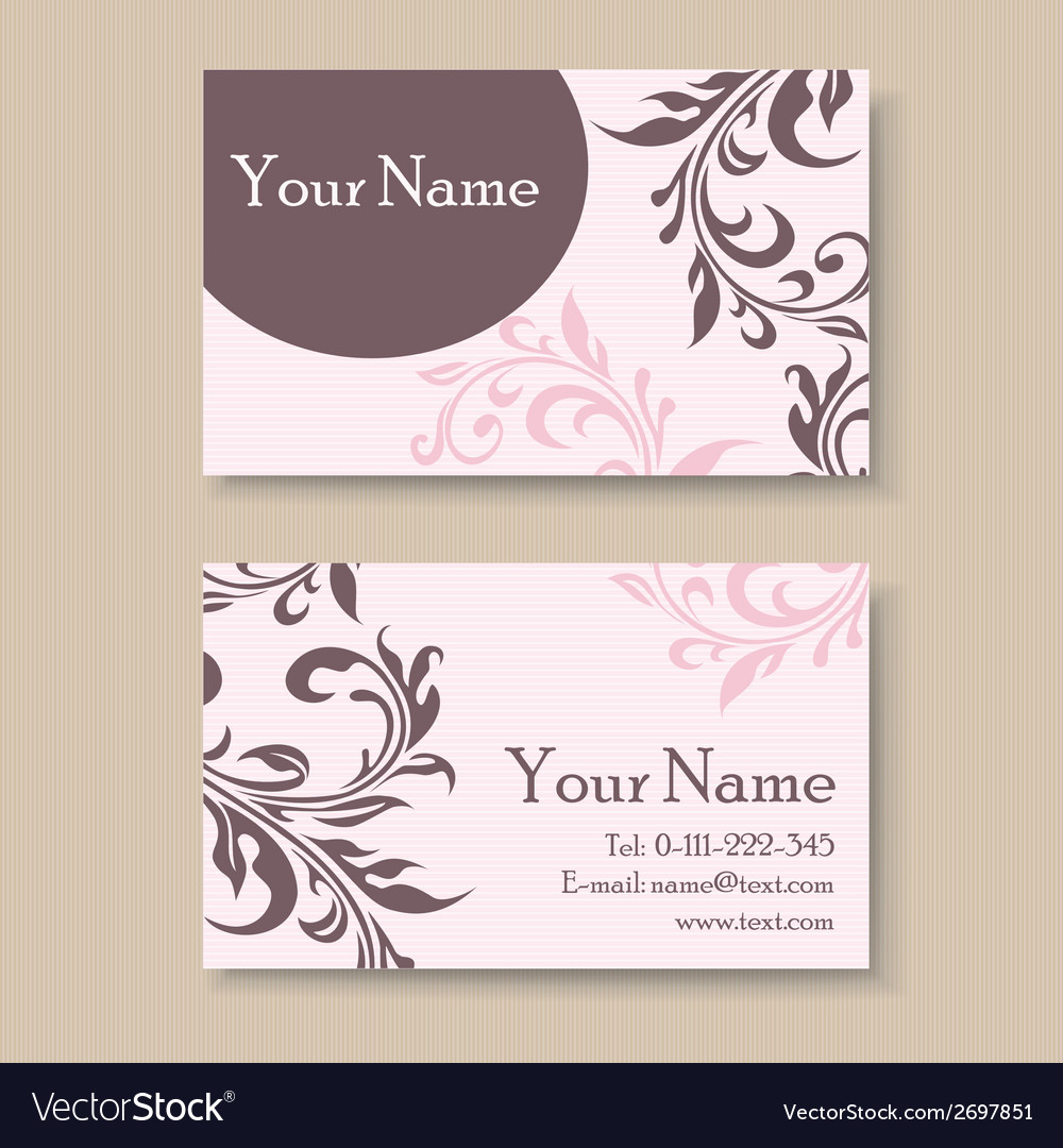 Pink business card with floral elements vector | Price: 1 Credit (USD $1)