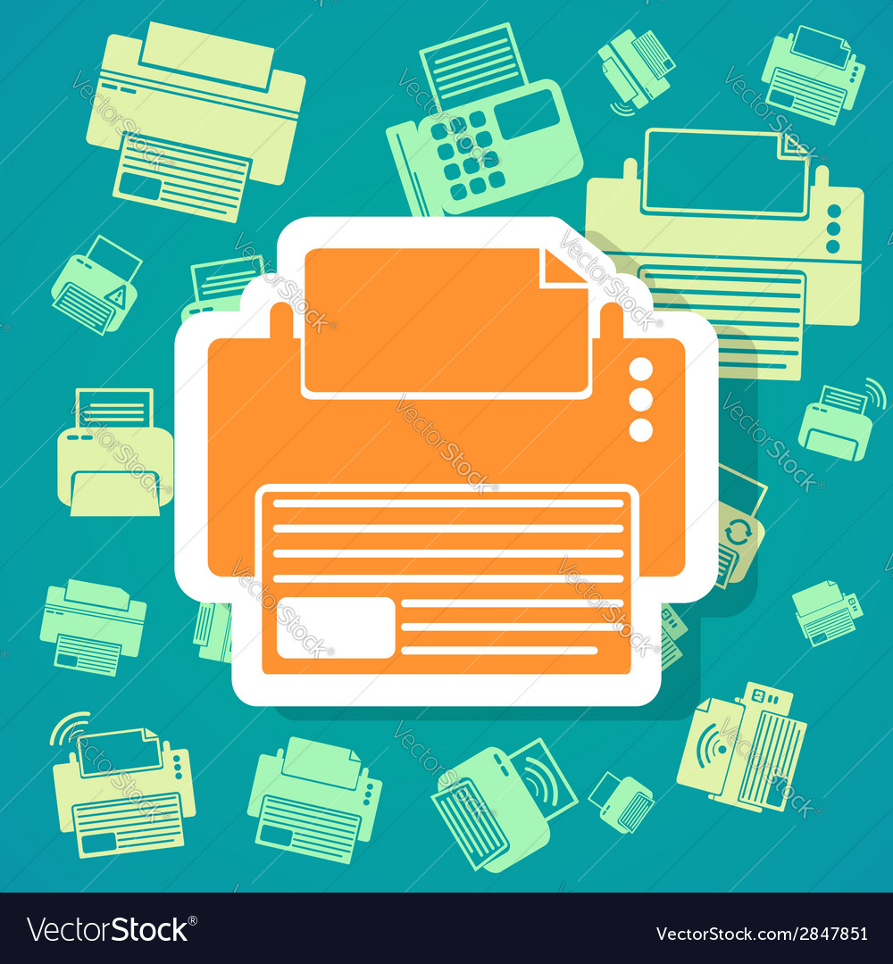 Printer icons background vector | Price: 1 Credit (USD $1)