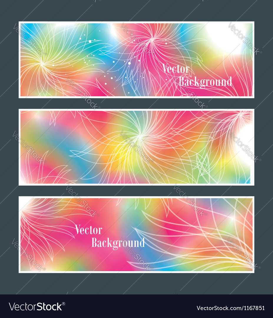 Set of three banners abstract headers with flowers vector | Price: 1 Credit (USD $1)