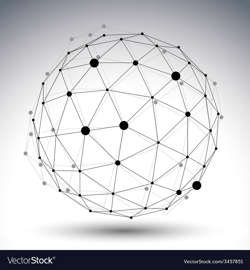 Spherical abstract black and white lined 3d vector | Price: 1 Credit (USD $1)