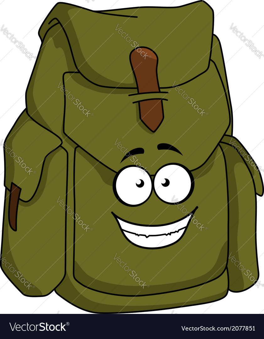 Tourist green canvas rucksack vector | Price: 1 Credit (USD $1)
