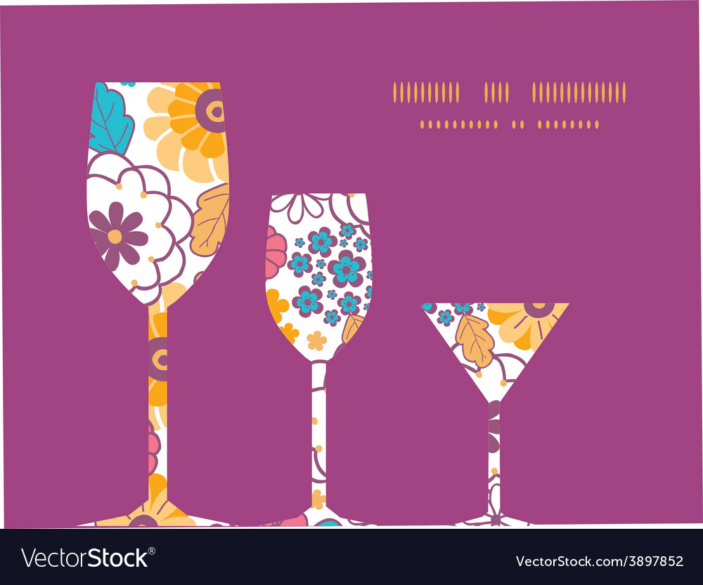Colorful oriental flowers three wine vector | Price: 1 Credit (USD $1)