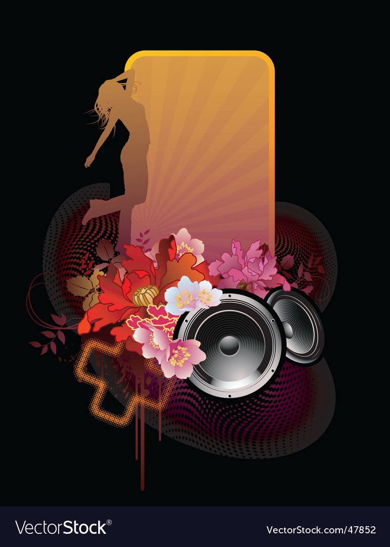 Floral music banner vector | Price: 1 Credit (USD $1)