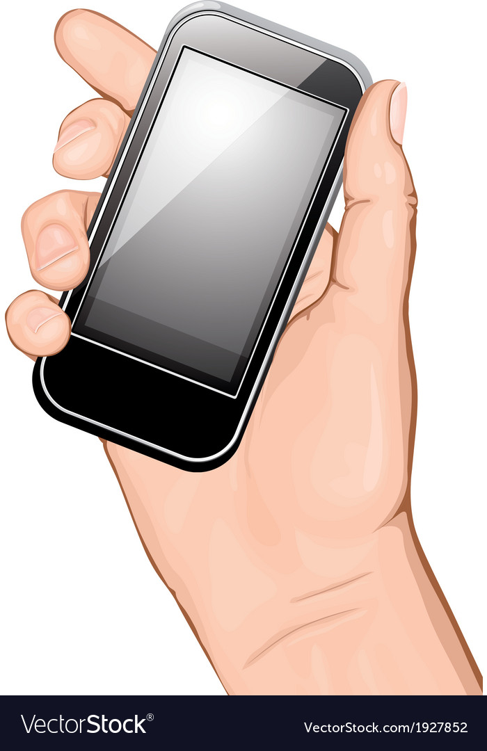 Hand holding smartphone vector | Price: 1 Credit (USD $1)