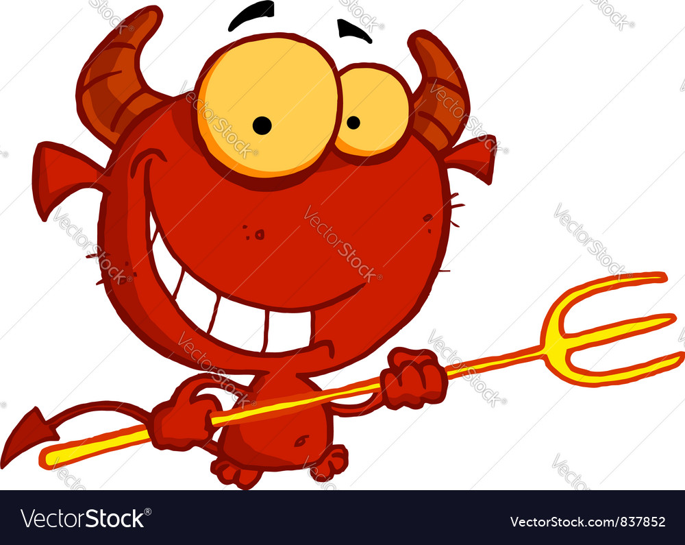 Happy red halloween devil with a trident vector | Price: 1 Credit (USD $1)