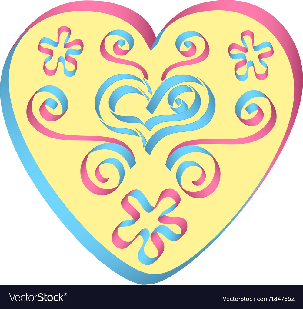 Heart decorated by ribbons in pink-blue colors vector | Price: 1 Credit (USD $1)
