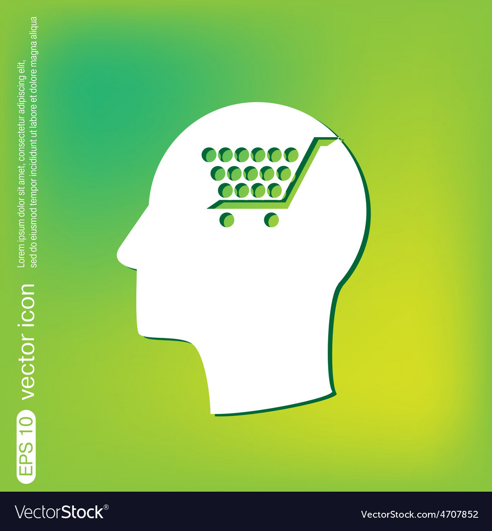 Icon head think silhoutte man and his mind about c vector | Price: 1 Credit (USD $1)
