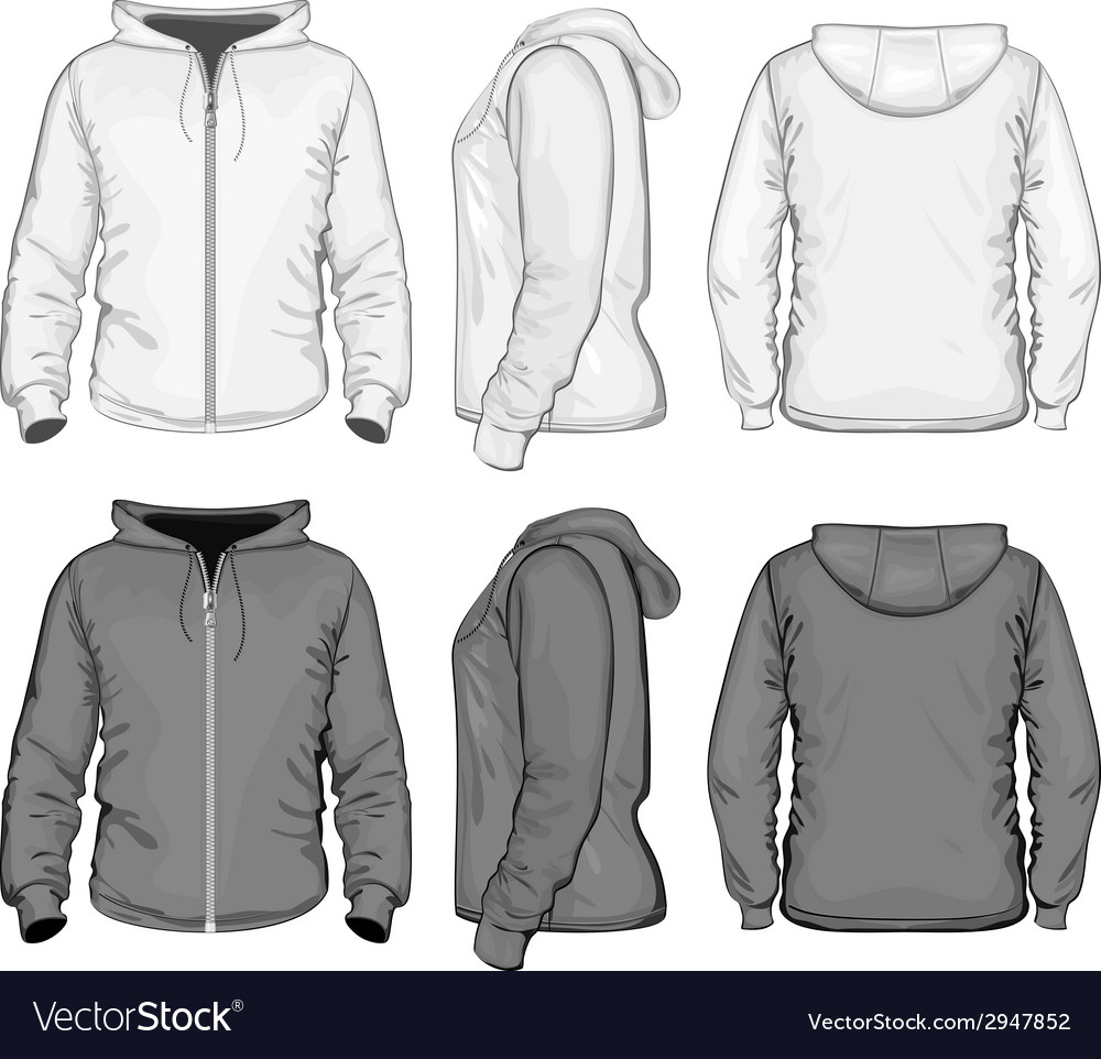 Mens hooded sweat-shirt with zipper vector | Price: 1 Credit (USD $1)