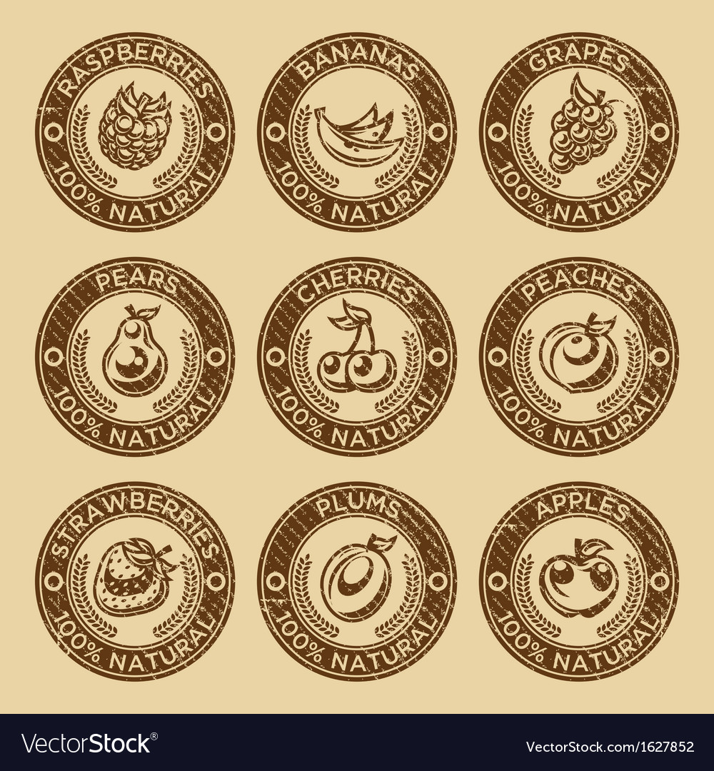 Natural fruits and berry stamps vector | Price: 1 Credit (USD $1)