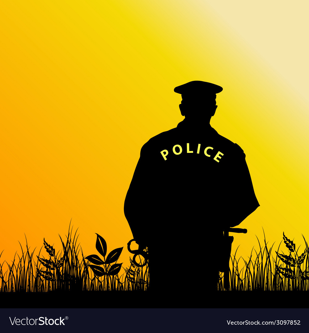 Policeman in the nature vector | Price: 1 Credit (USD $1)