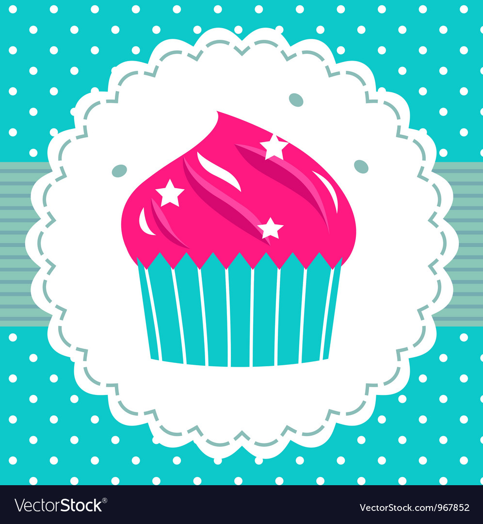 Retro party cupcake template vector | Price: 1 Credit (USD $1)