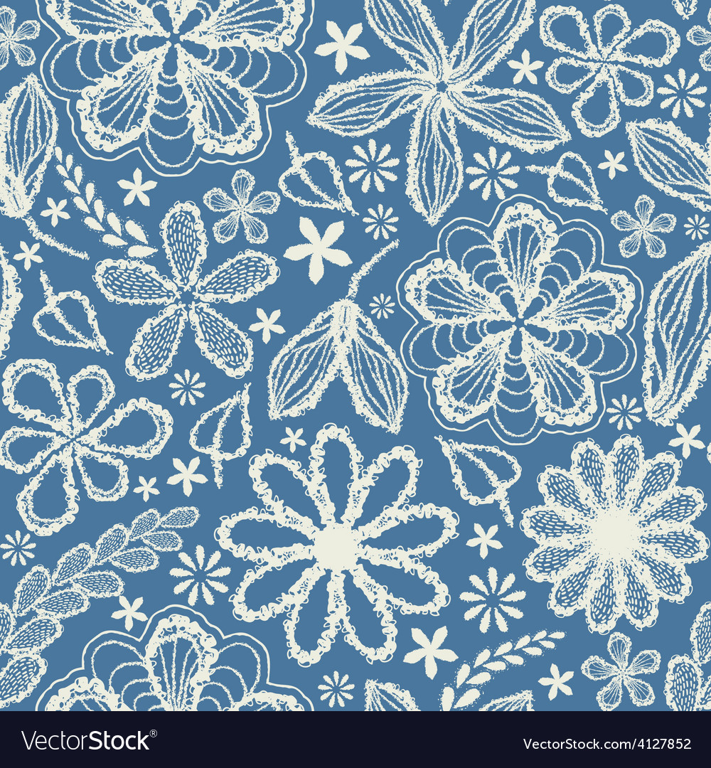 Seamless shabby floral hand-drawn curly pattern vector | Price: 1 Credit (USD $1)